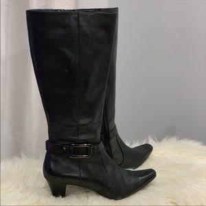 Anne Klein fine leather black boots